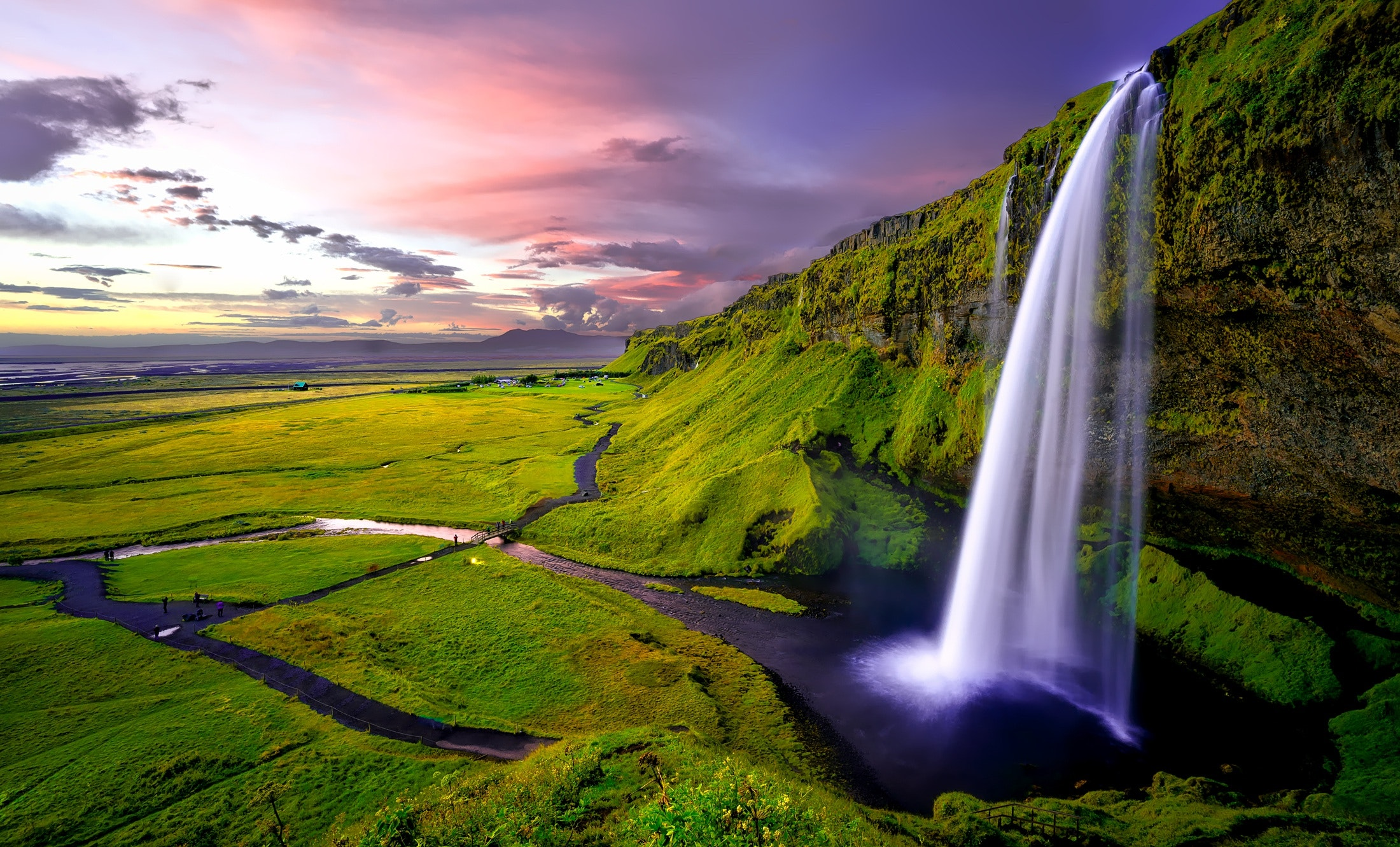 Delightful Time Lapse Photography Of Waterfalls During Sunset