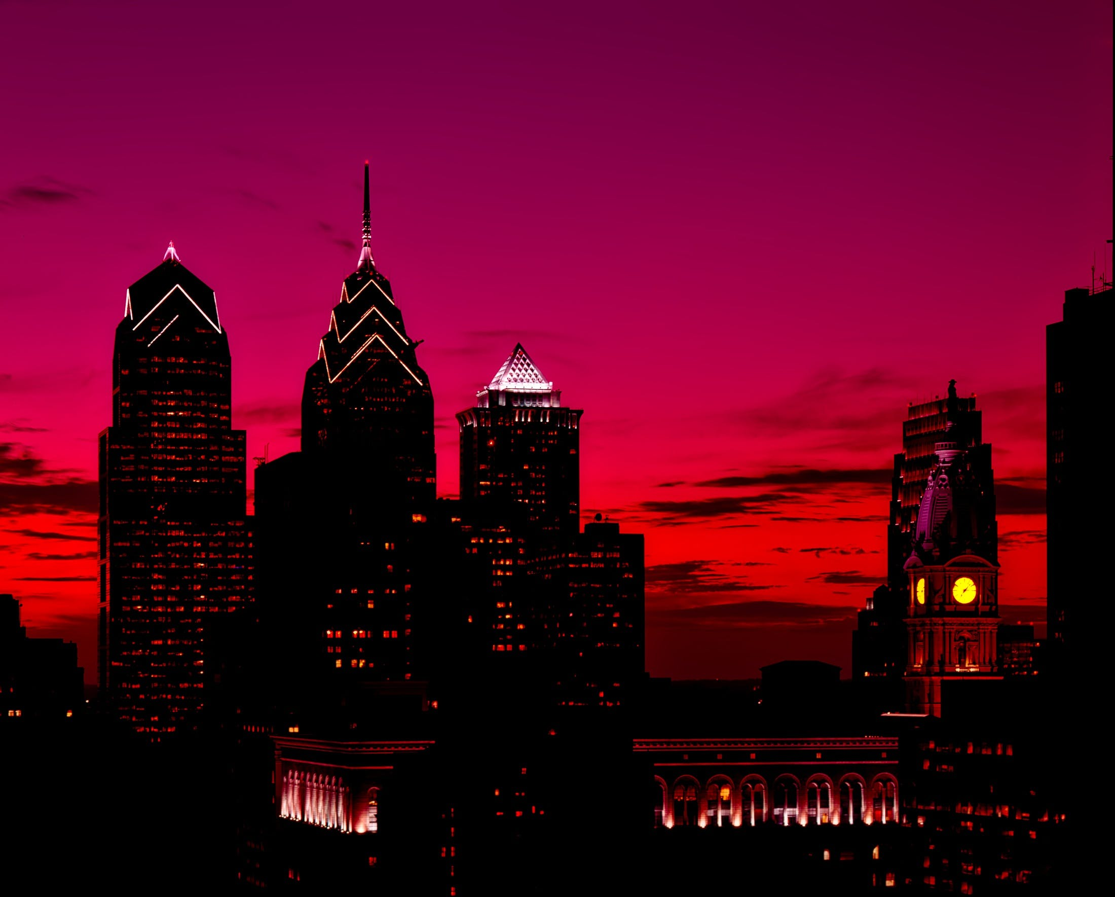 Silhouette of High Rise Buildings at Sunset