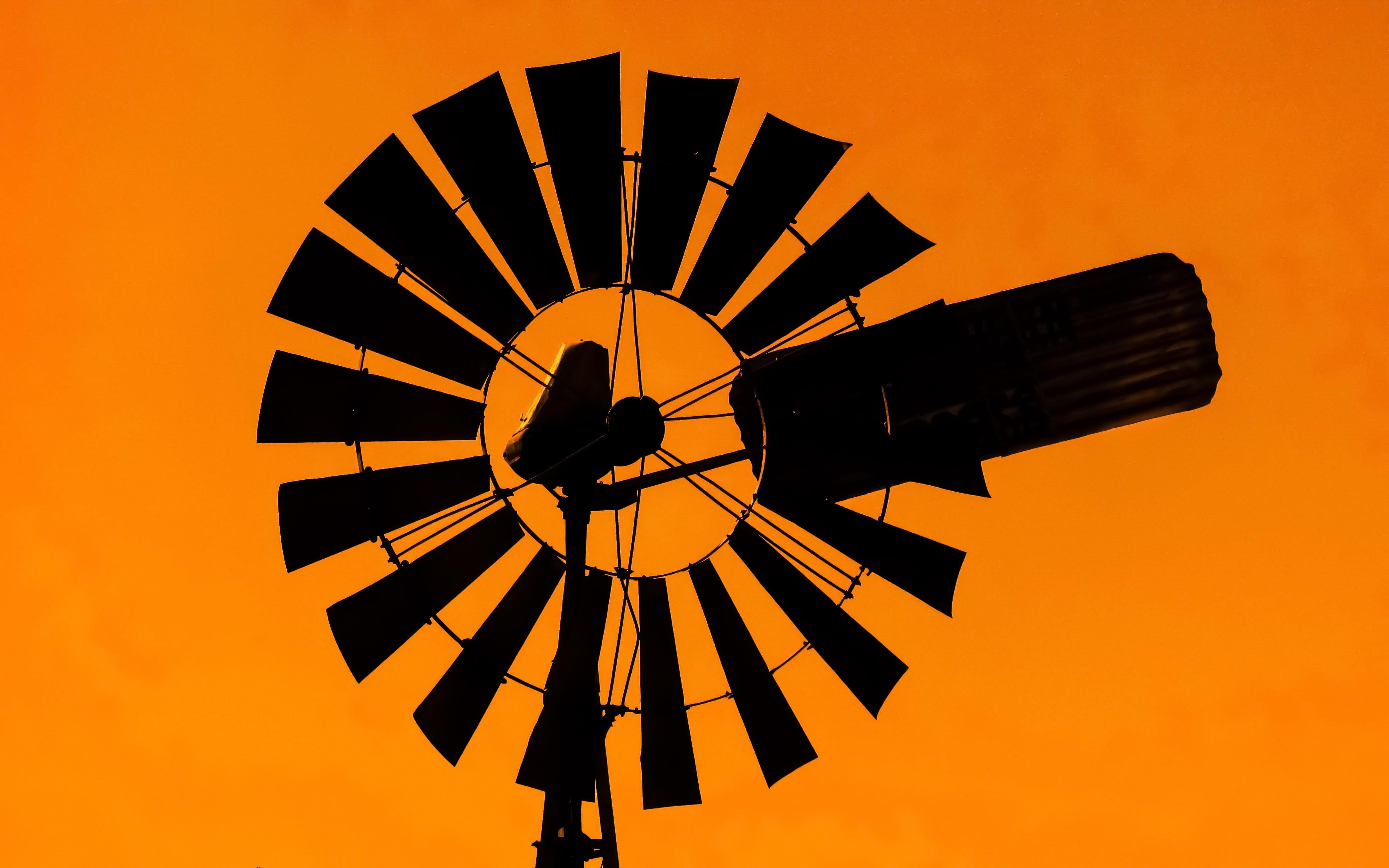 Free stock photo of orange, shadow, sunset, windmill