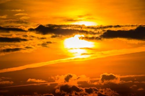 คลังภาพถ่ายฟรี ของ ดราม่า, ดวงอาทิตย์, ตะวันลับฟ้า, ทอง