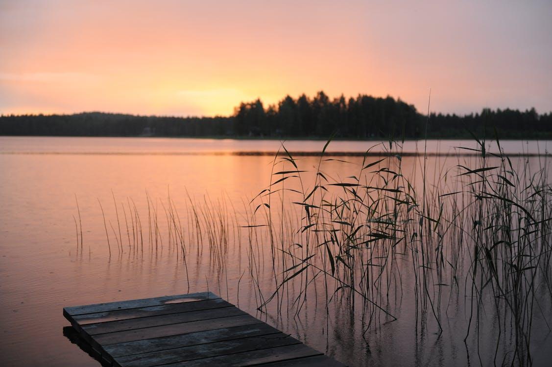 båtdekk, daggry, elv
