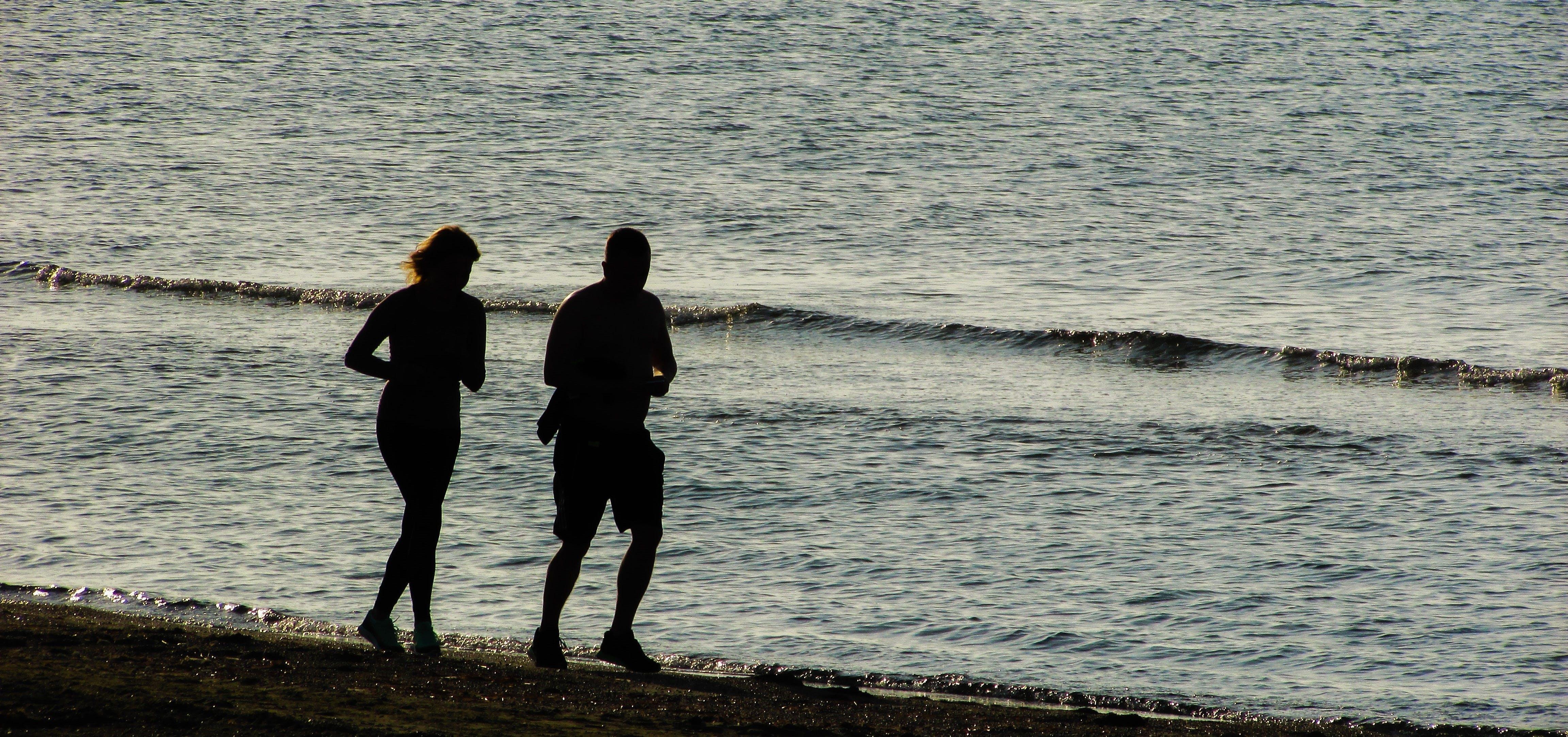 Free stock photo of sea, beach, couple, morning