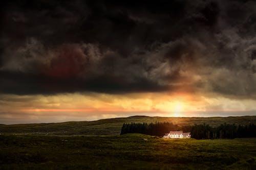 Gratis stockfoto met begroeiing, bomen, donkere wolken, dramatisch