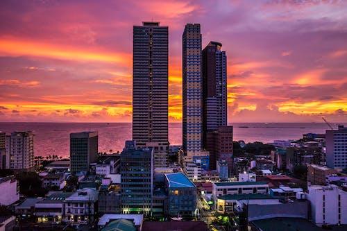 คลังภาพถ่ายฟรี ของ ตะวันลับฟ้า, ตัวเมือง, ตึก, ตึกระฟ้า