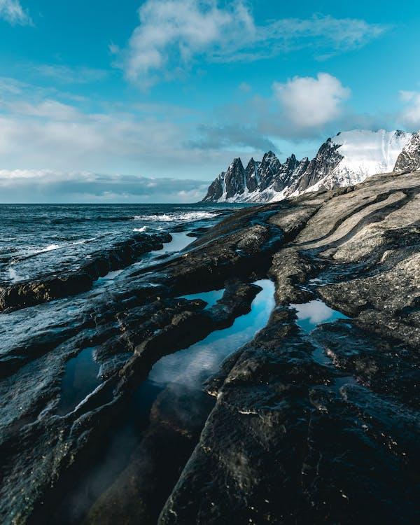 berg, dagsljus, frost