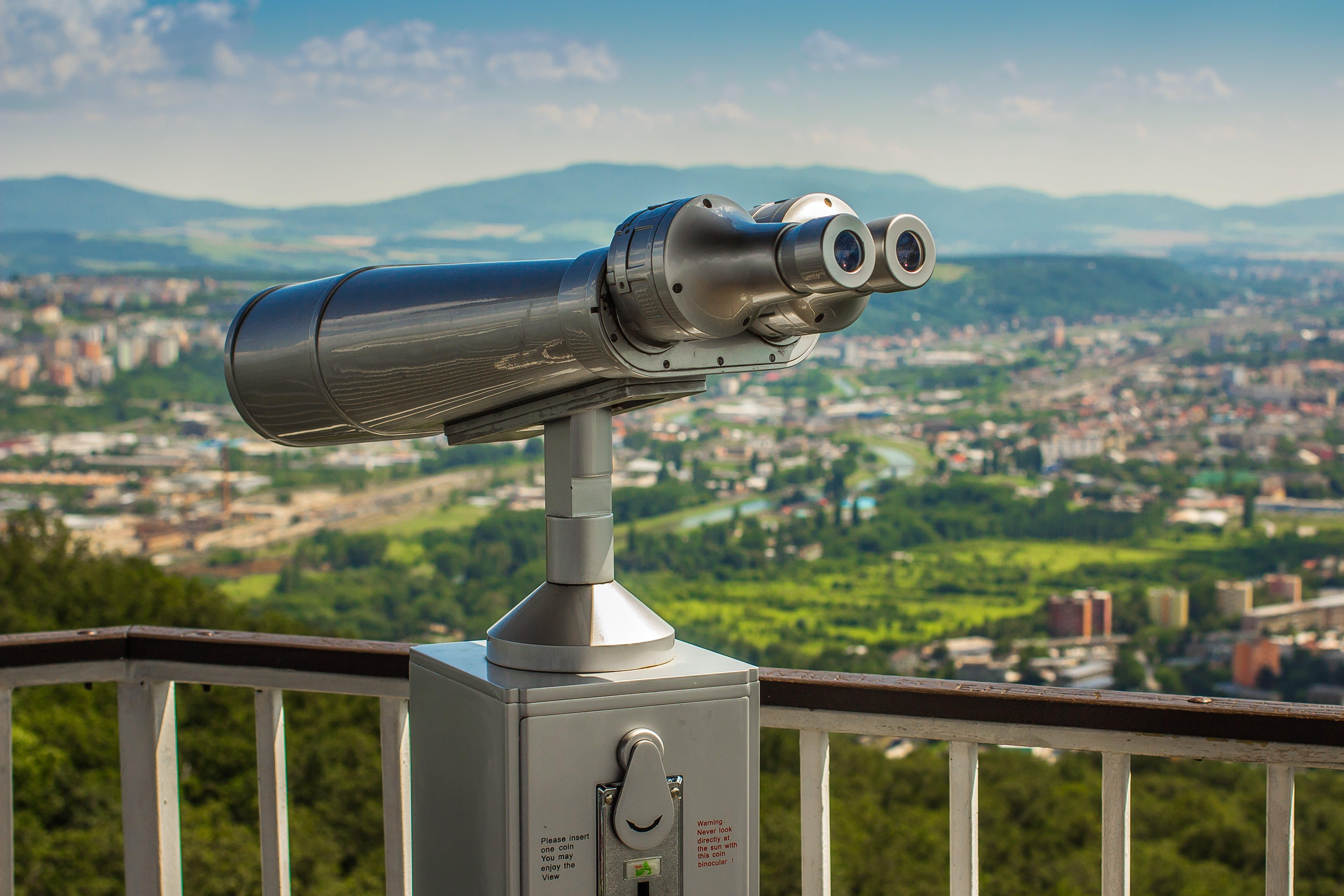 binoculars, city, cityscape