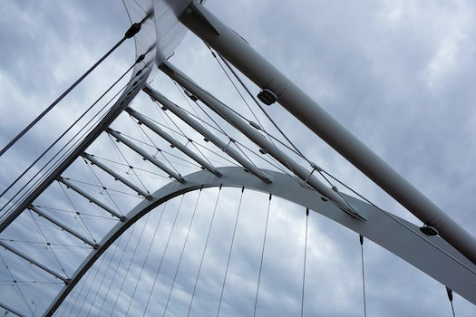 Worm's Eye View of Grey Steel Bridge