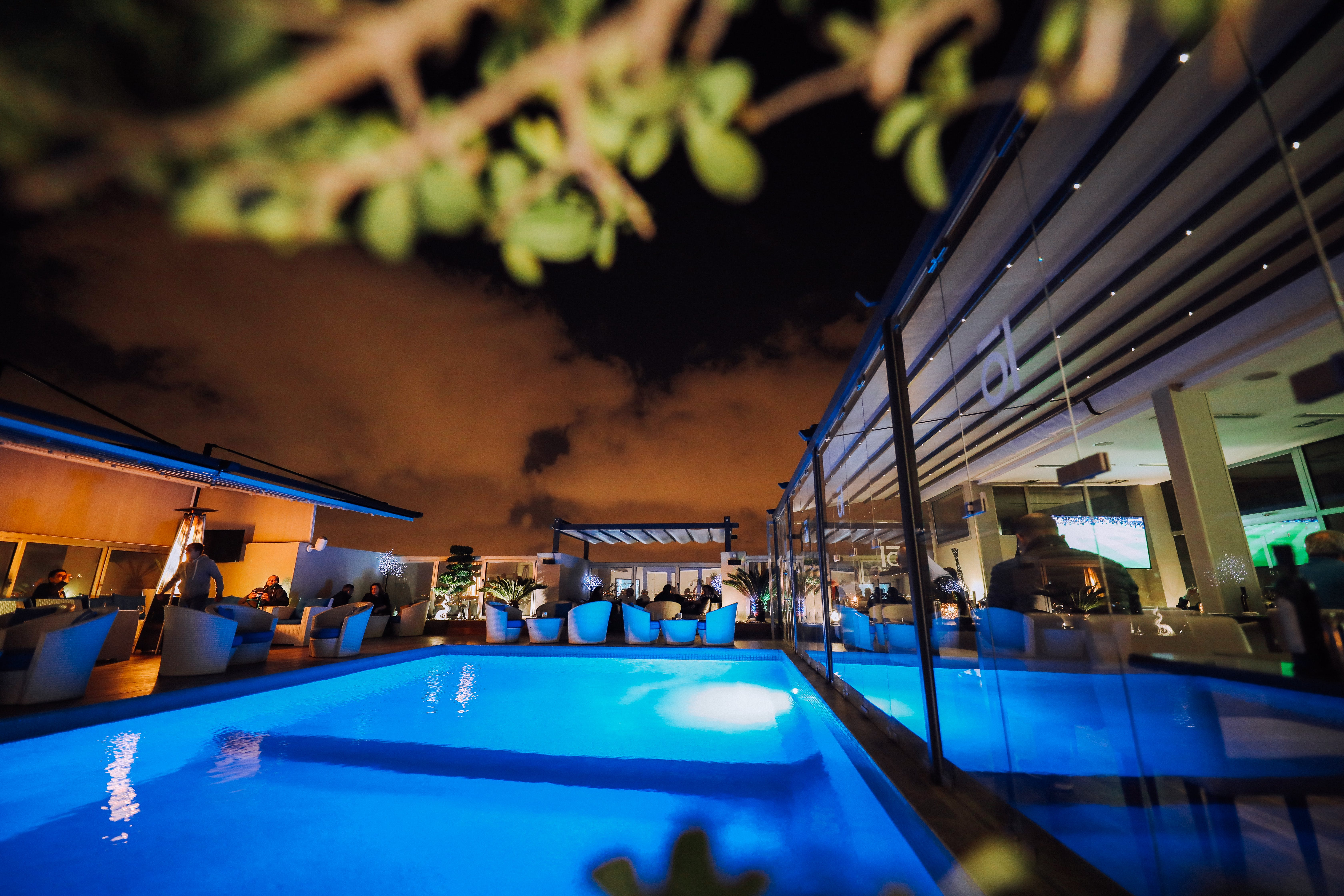Swimming Pool With Blue Lightings