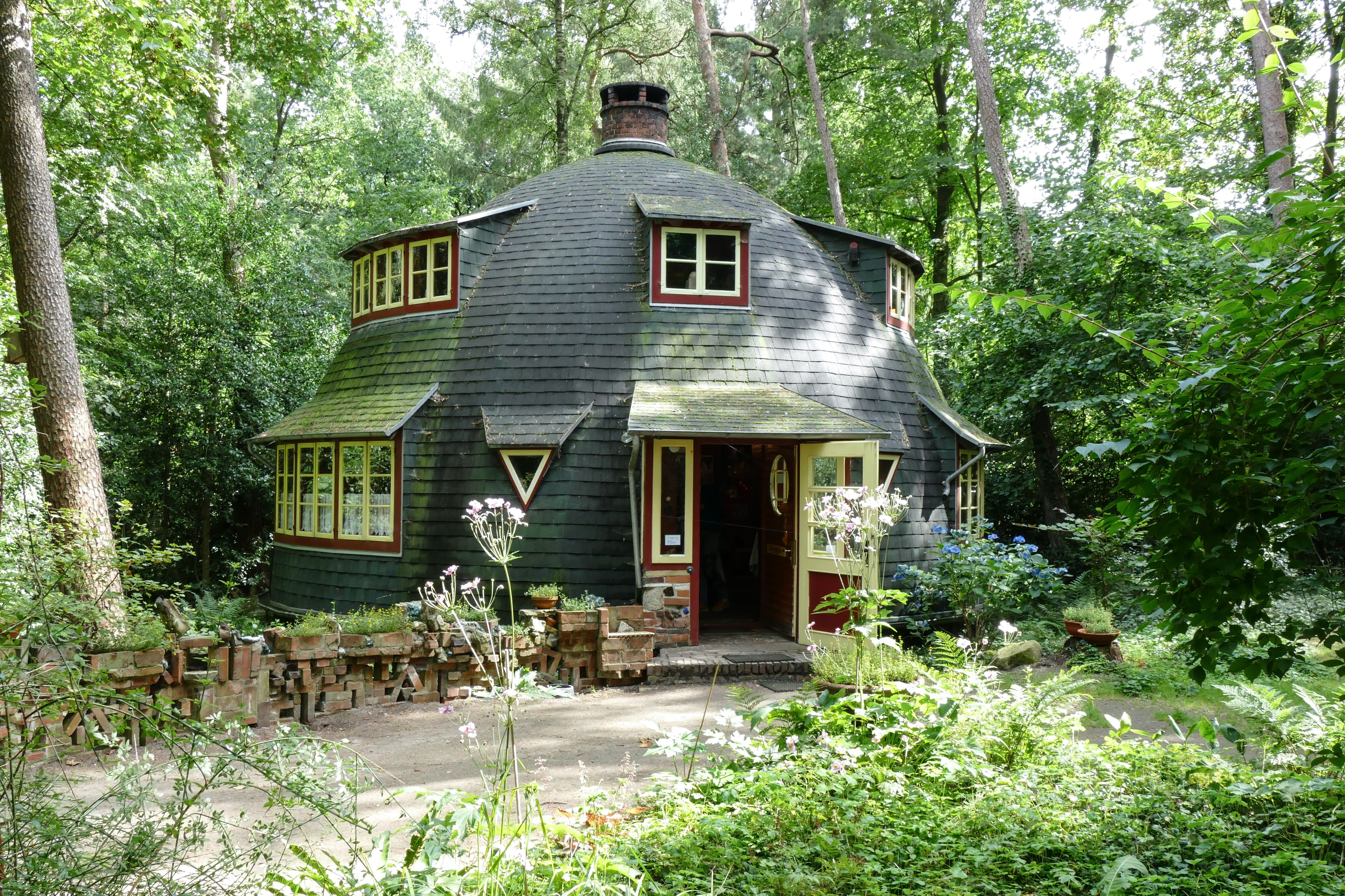 Brown And White Wooden House On Green Forest 183 Free Stock