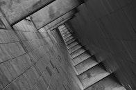 stairs, black-and-white, dark