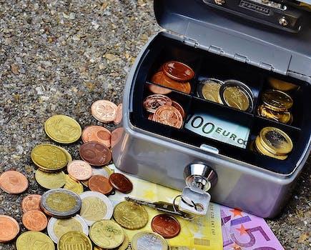 Free stock photo of money, coins, finance, box