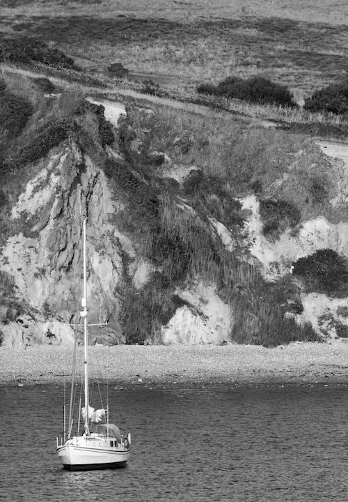 모노톤의, 물, 보트, 해변의 무료 스톡 사진