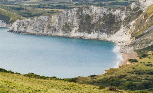 Aerial View of White Cliffs and a Beach
