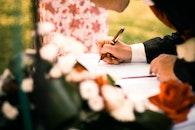 man, flowers, pen