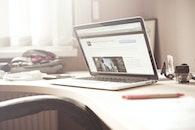 desk, laptop, pen