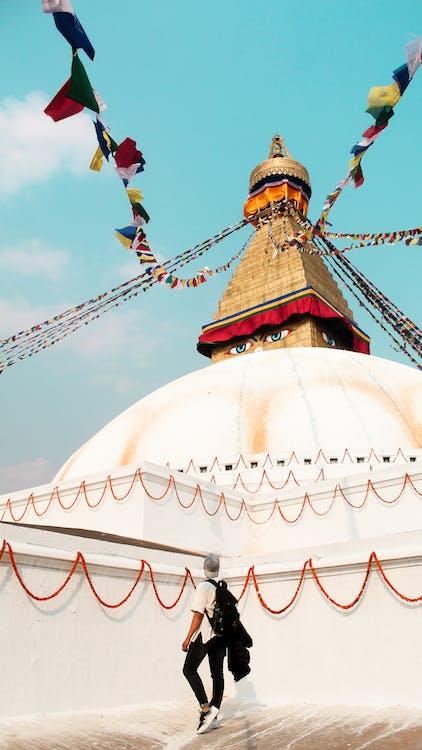 Free stock photo of backpacker, blue sky, bouddhanath