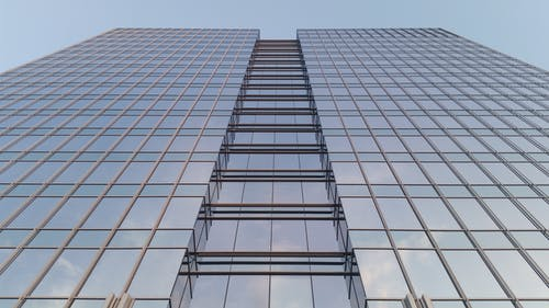 Worm's Eye View Of Glass Facade Building