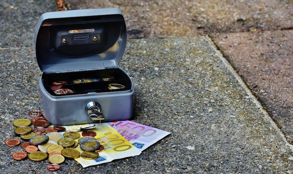 bank notes, cash, cash box