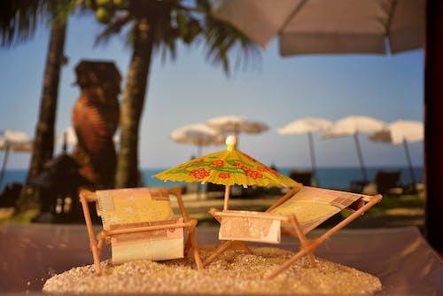 Foto profissional grátis de areia, beira-mar, borrão, cadeiras