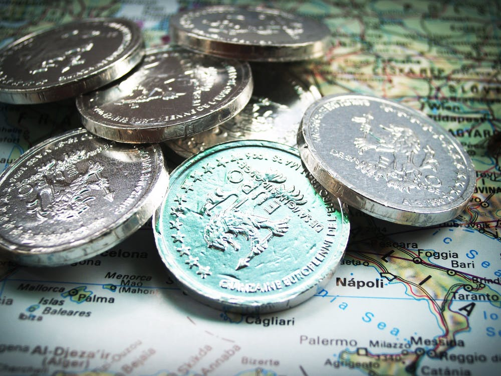 Euro Coins on Map
