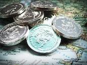 money, coins, map