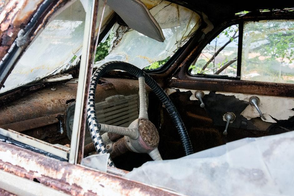 broken, car, destroyed