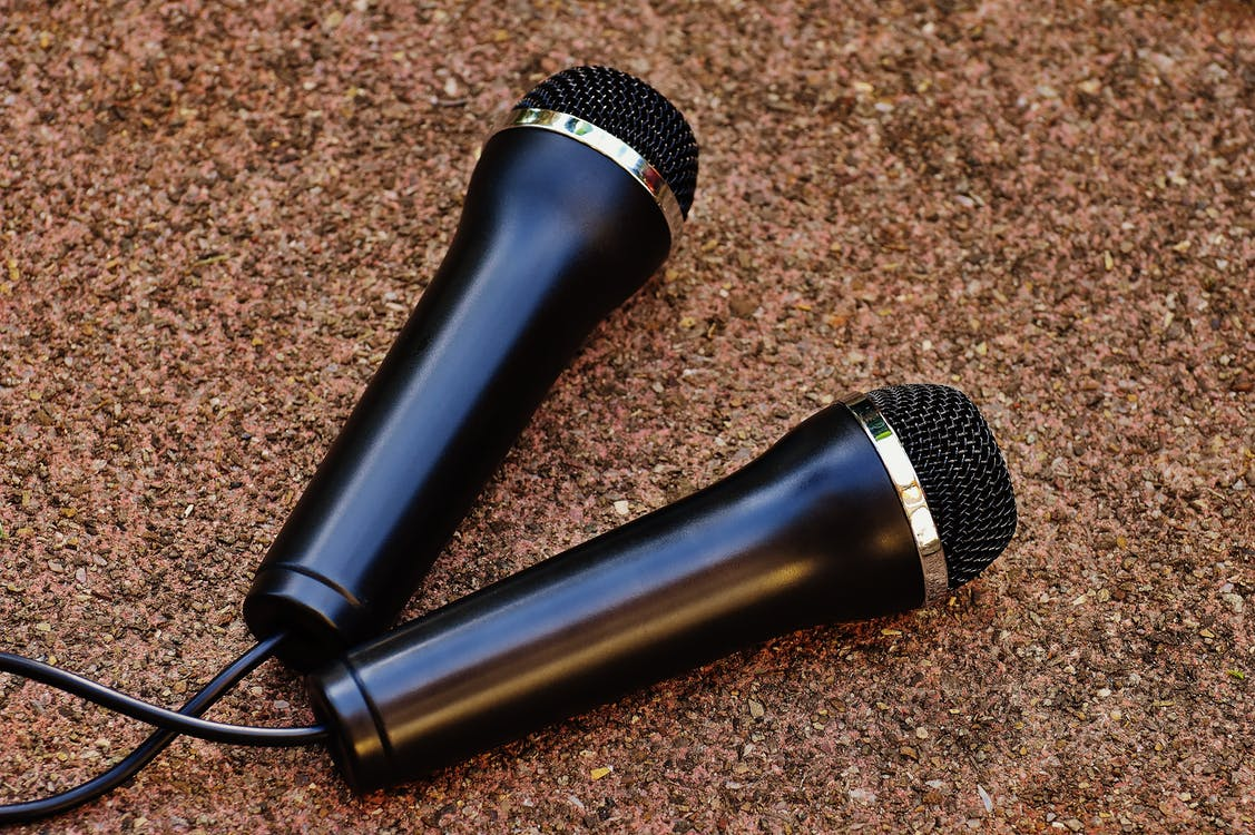 Two Black Dynamic Microphones