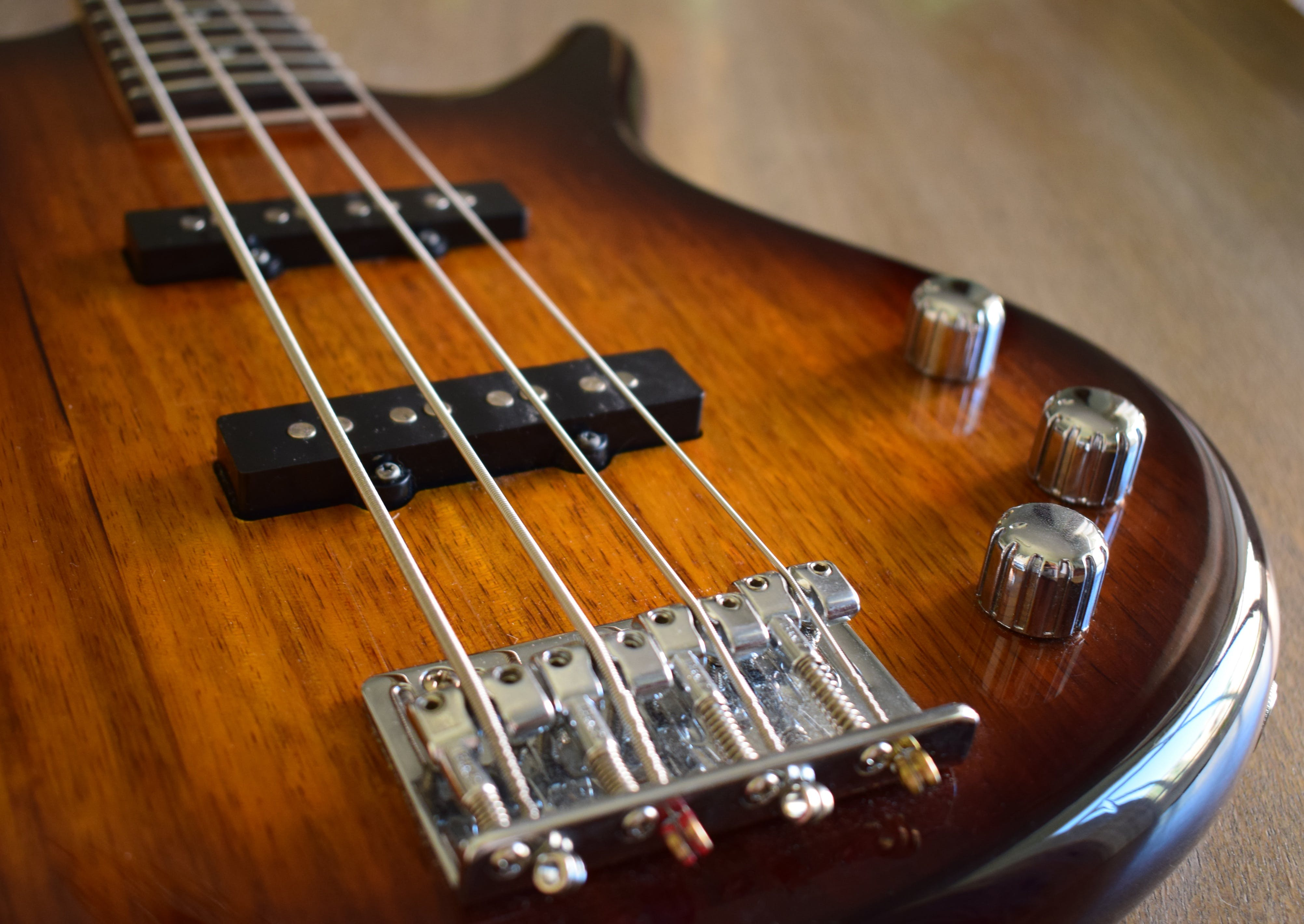 Close-up of Brown Electric Guitar
