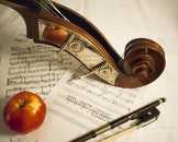 apple, musical instrument, paper
