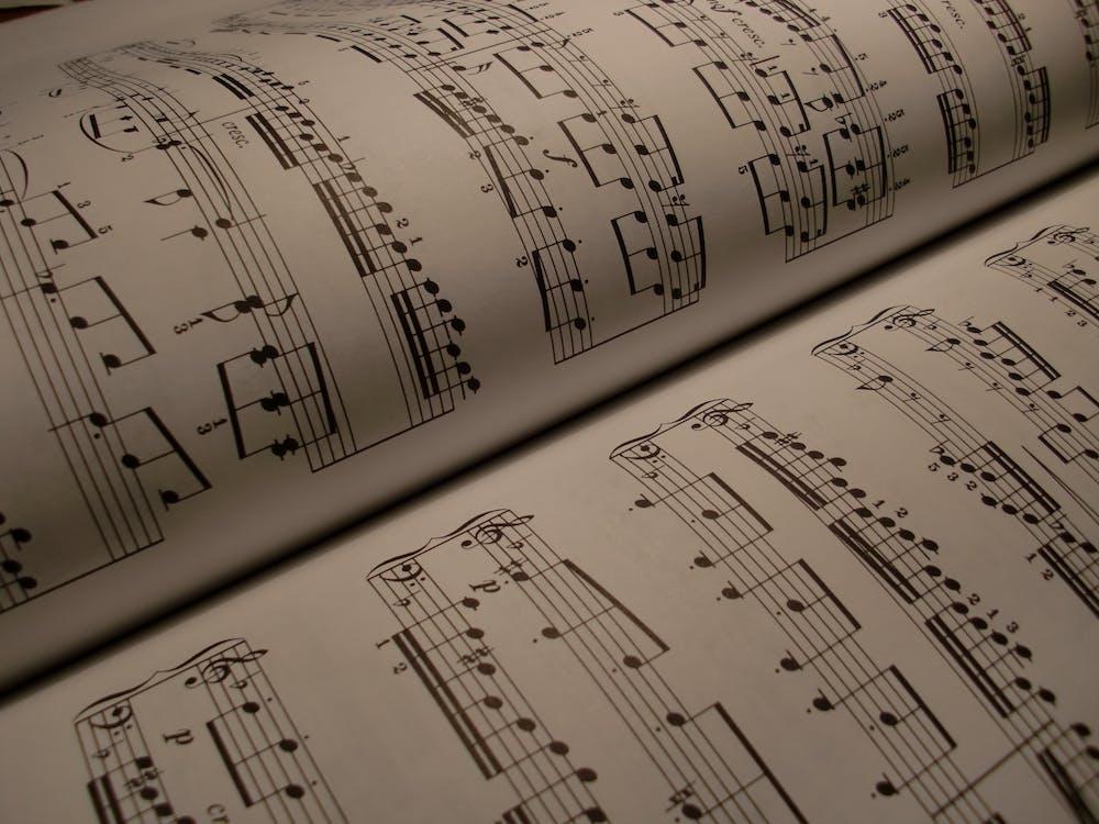 černobílý, dokument, houslový klíč