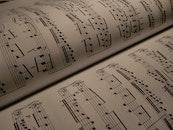black-and-white, writing, music