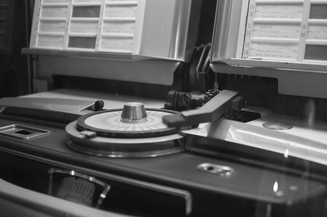 černobílý, detailní pohled, gramofon