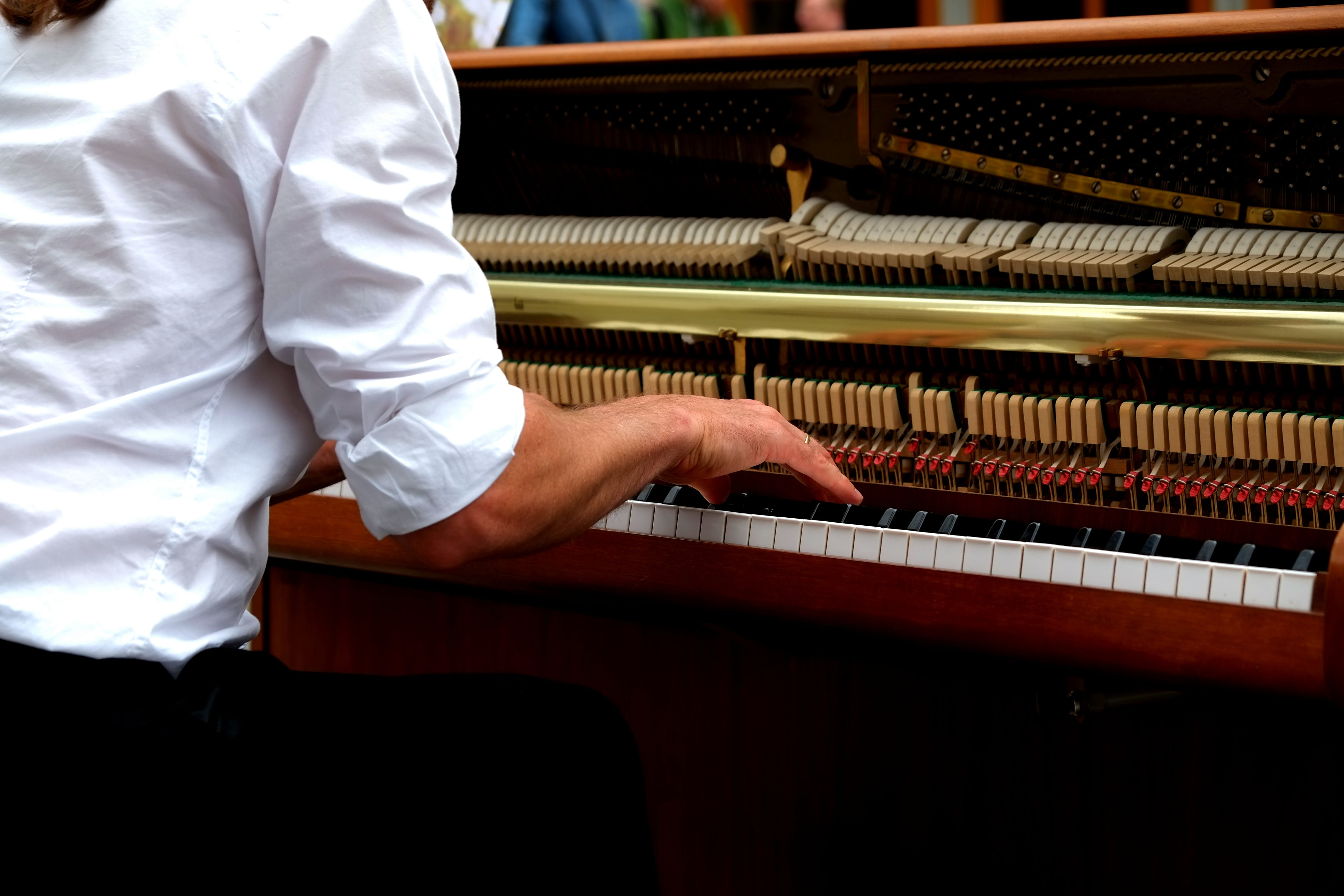Brown White and Beige Upright Piano