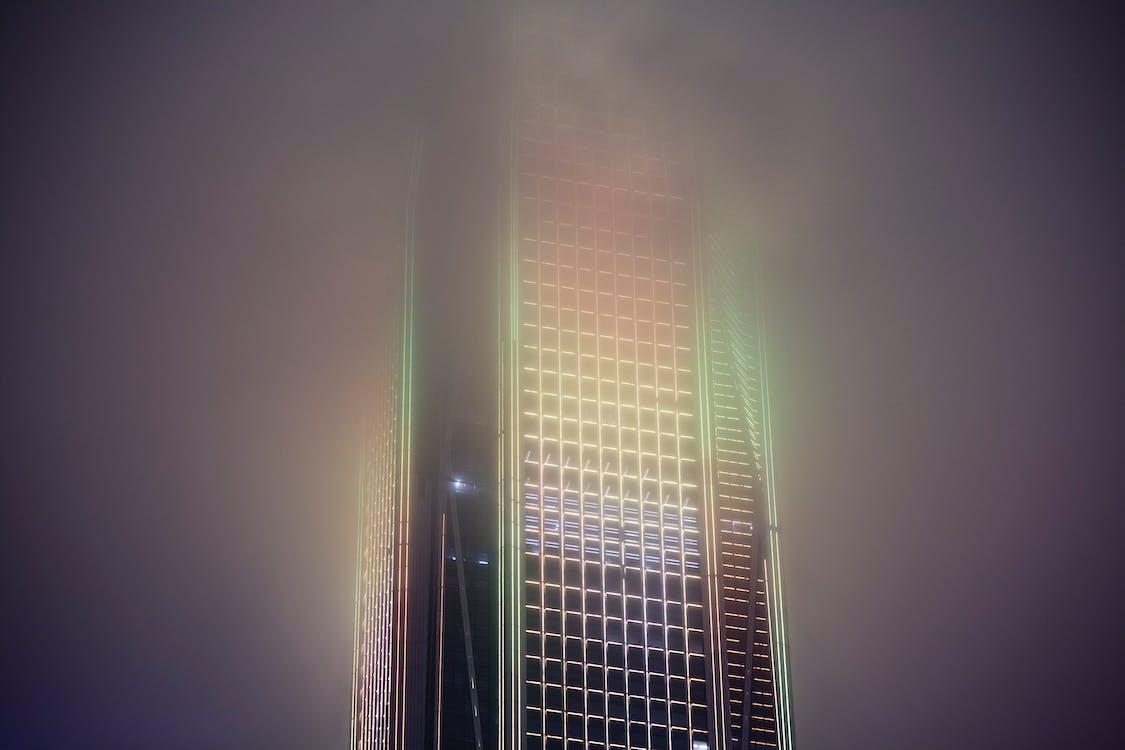 éjszaka, épület, fény
