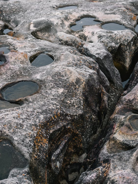 Grey Rock With Holes With Water