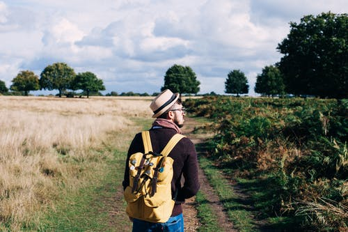 Man With Backpack Walking on Pathway Between Field at Daytime