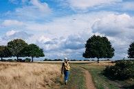 man, walking, field