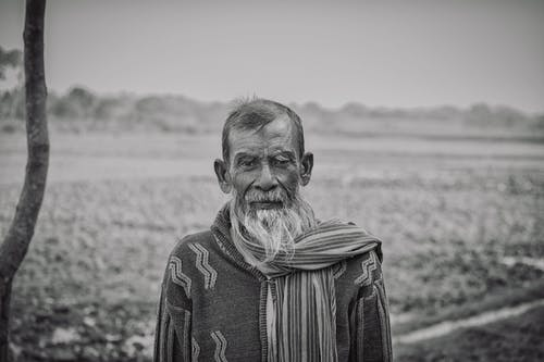 Grayscale Photography of an elderly Man
