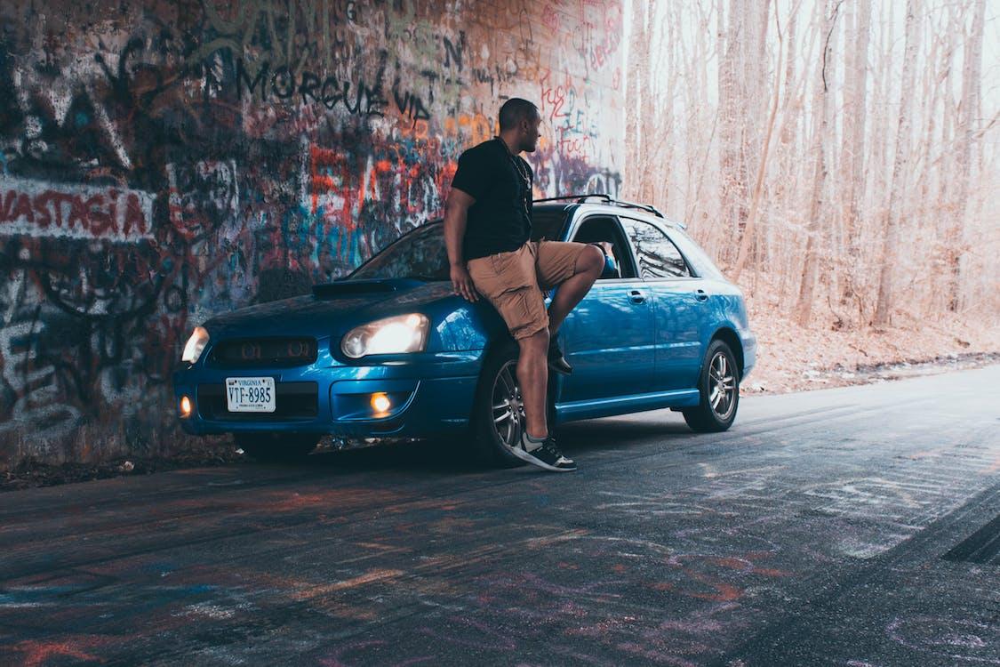 aparcado, azul, carretera
