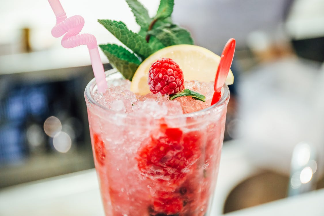 Selective Focus Photography of Strawberry Juice
