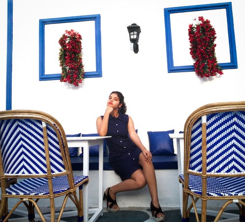 Free stock photo of black hee, blue, blue dress, chair