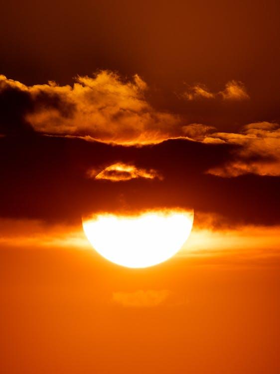 mraky, slunce, západ slunce