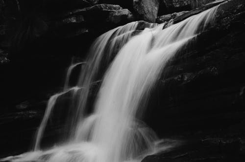 Grayscale Photography of Running Water