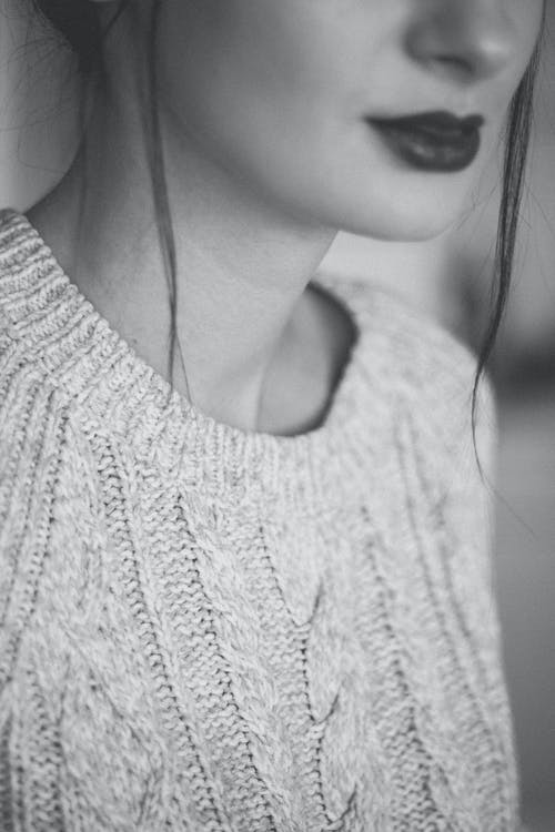 Grayscale Photography of Woman Wearing Sweater