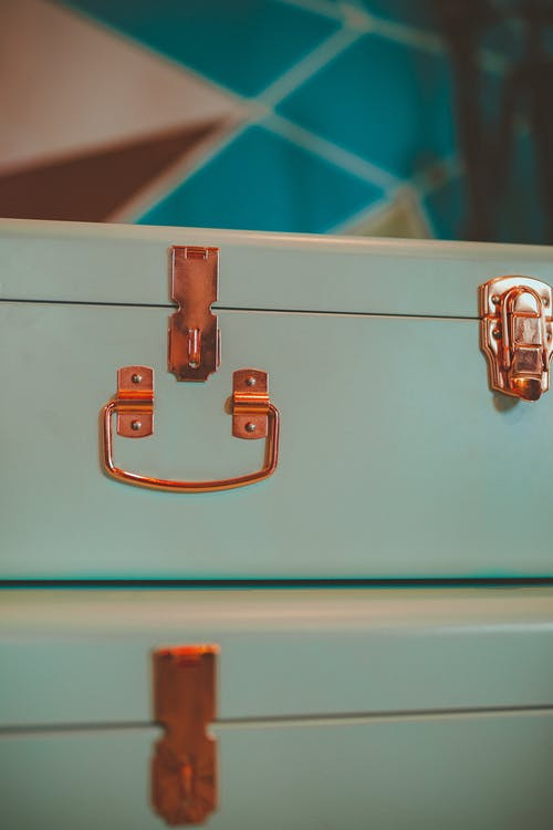 View of Teal Suitcase