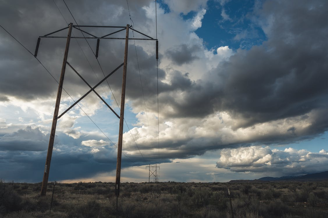 blå himmel, elektricitet, elektrisk