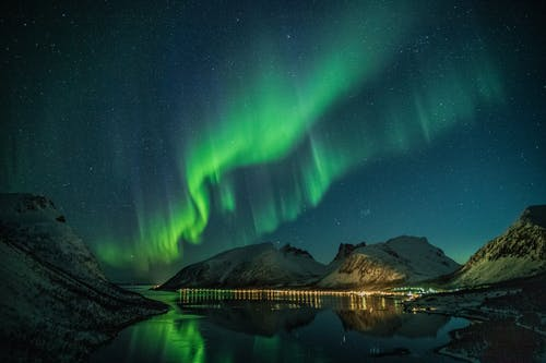 Aurora Above Lake at Night