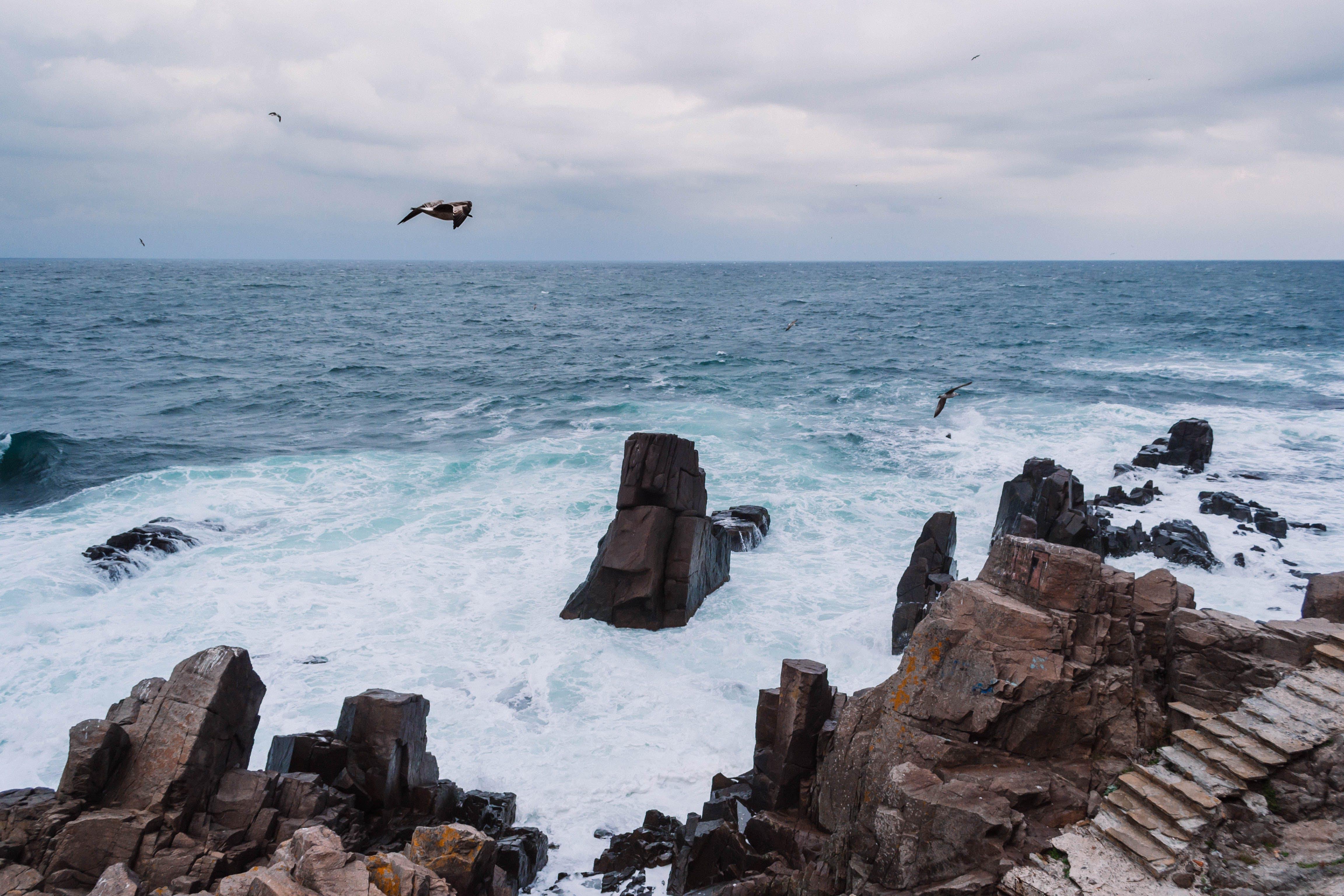 Wavy Sea Crashing Through Rock Formations