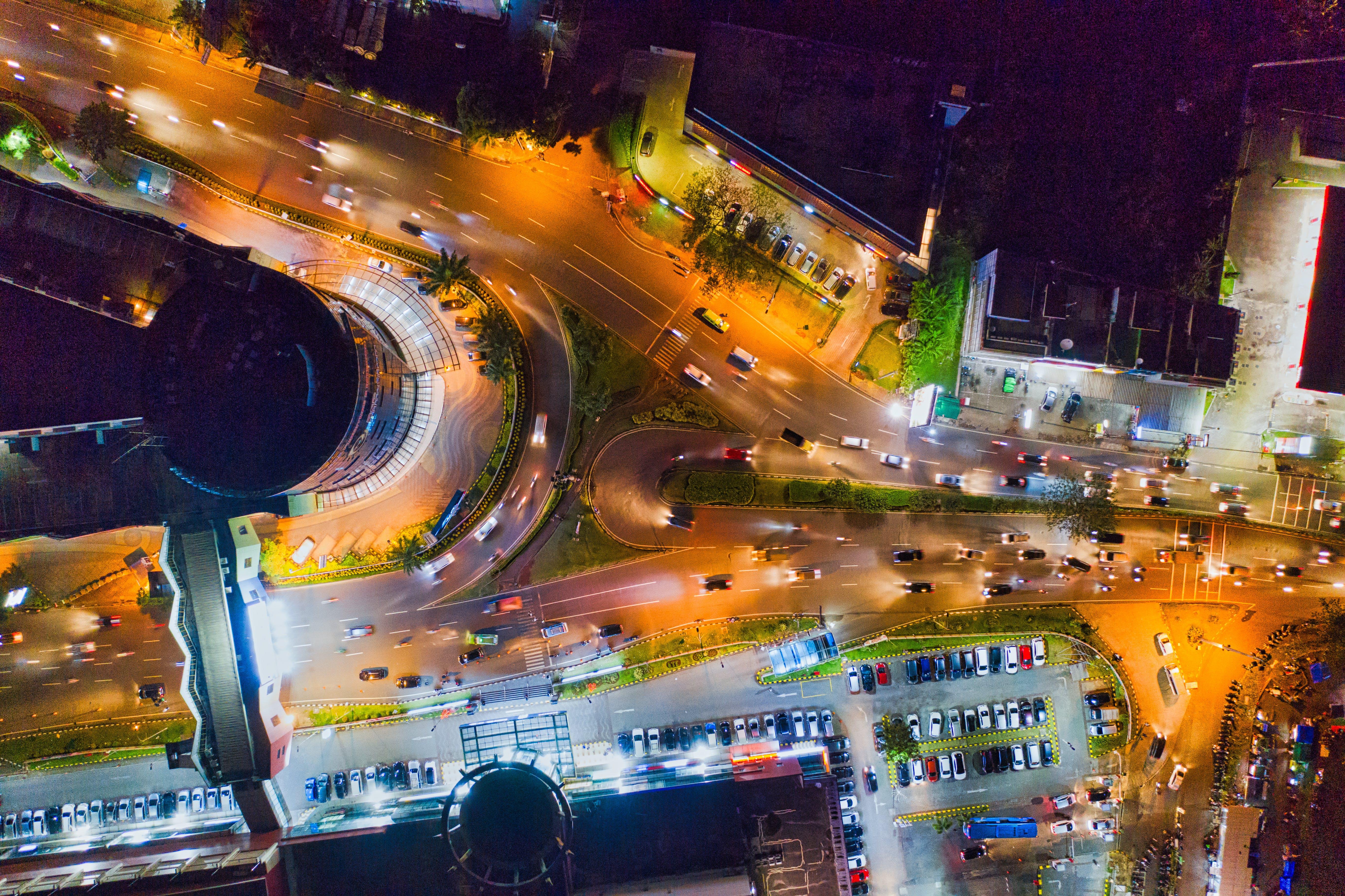of aerial, architecture, blur, building