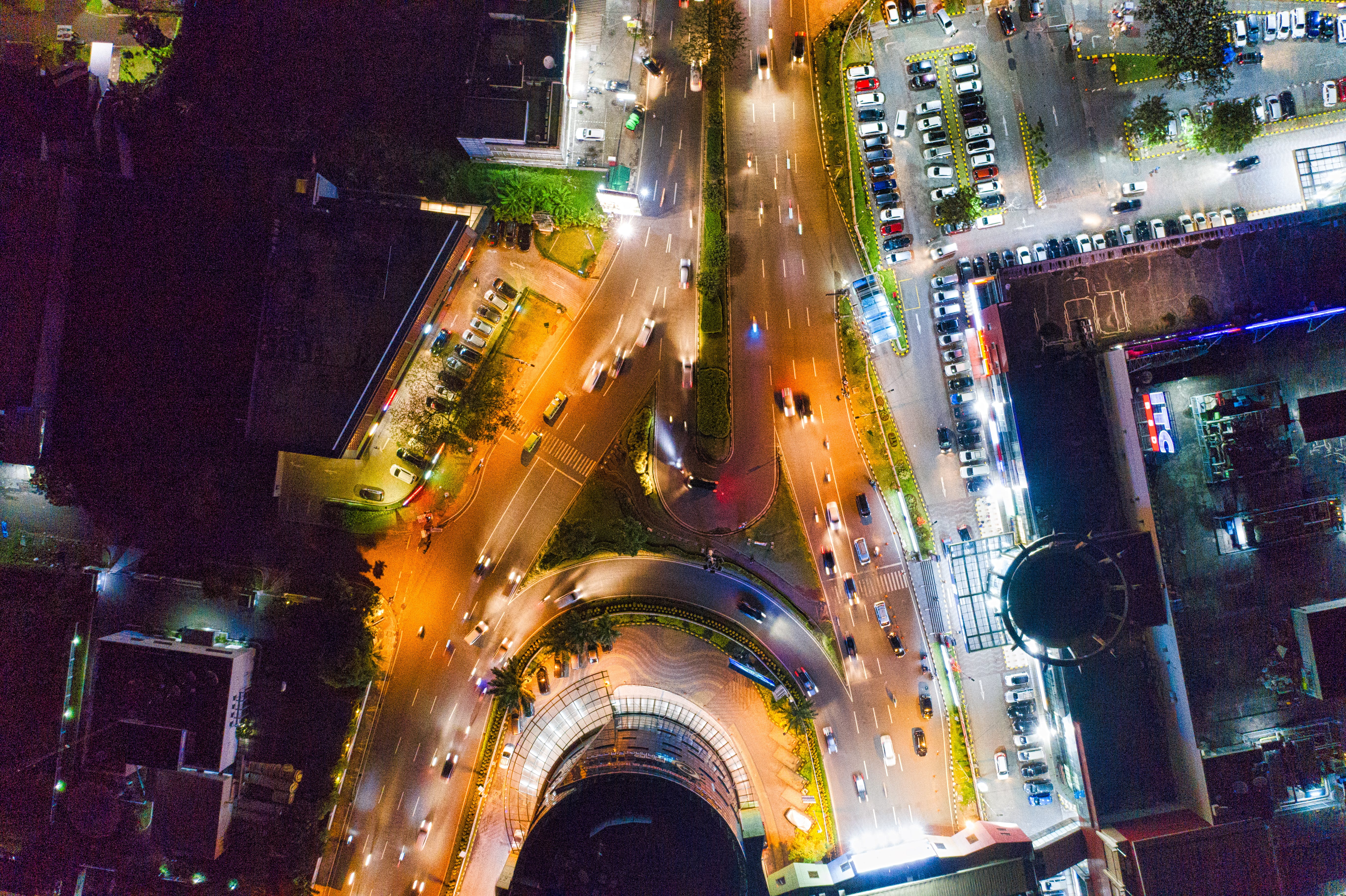 Aerial View of Vehicles on Road at Night